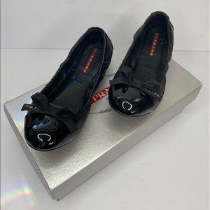 PRADA Nappa Leather Ballerina Flats Black